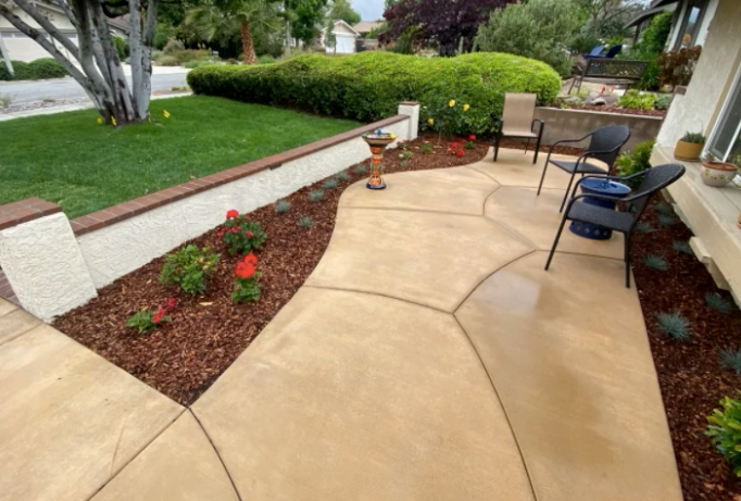 this image shows patio installation in Carlsbad, California