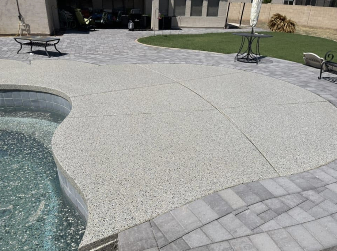 this image shows pool decks in Carlsbad, California
