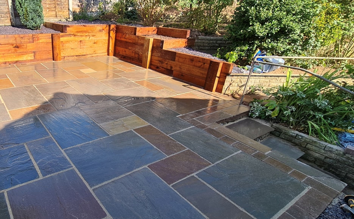 this image shows stamped patios in Carlsbad, California