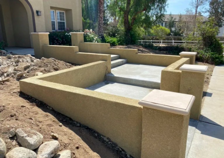 this image shows concrete steps in Carlsbad, California